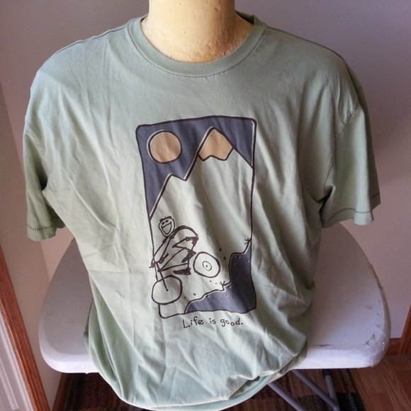 """Life Is Good Other - Life Is Good """"Good Moves"""" green T - mens large"""